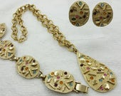 Sarah Coventry Sultana Pendant Bracelet and Clip earrings 1959 Dreamy Vintage