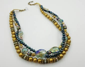 Triple Strand Upcycle Choker Necklace Eames Era beautiful glass Pearls beads Deep Colors