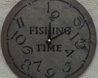 9 Inch FISHING TIME CLOCK in Warm Earthy Shades with Jumbled Numbers