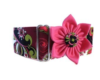 2 inch Martingale Collar, Greyhound Martingale Collar, Hot Pink Martingale Collar and Collar Flower, Pink Dog Collar