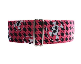 Pink Martingale Collar, Houndstooth Martingale Collar, Hot Pink, Black, Pink Skull Dog Collar, Greyhound Collar