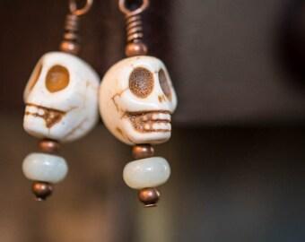 Earrings Day of the Dead Skulls in Ivory