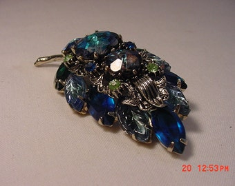 Vintage Blues & Green Rhinestone Abstract Leaf Brooch   16 - 633