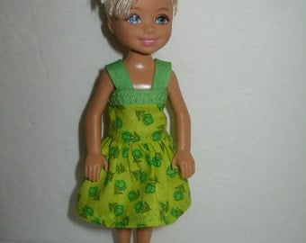 """Handmade 5.5"""" little sister fashion doll clothes - green print dress with sraps"""