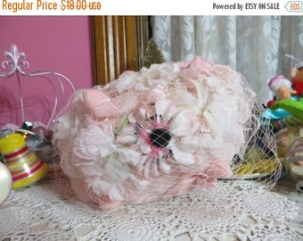 ON SALE Vintage Ladies Hat-Loaded with Millinery-Pale Pink-Derby-Easter-AWESOME Hat-Union Made