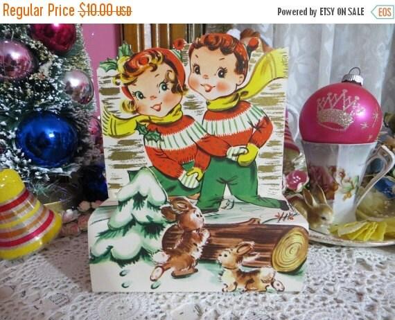 ON SALE Vintage Retro Mid Century Christmas Greeting Card-Cute Ice Skating Kids-Unused-Childrens-Stand-Up-3-D