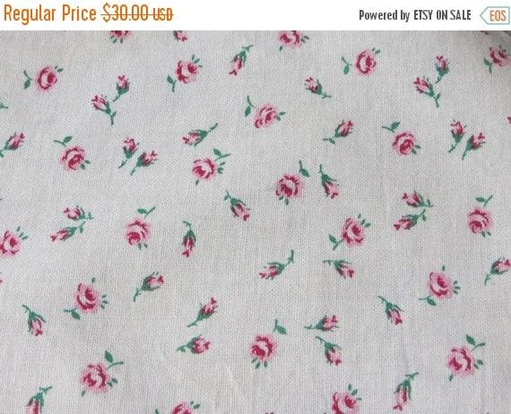 ON SALE Vintage Feedsack Fabric-Floral-Full Sack-Unopened- Feed sack-1930's-Pink Rosebuds