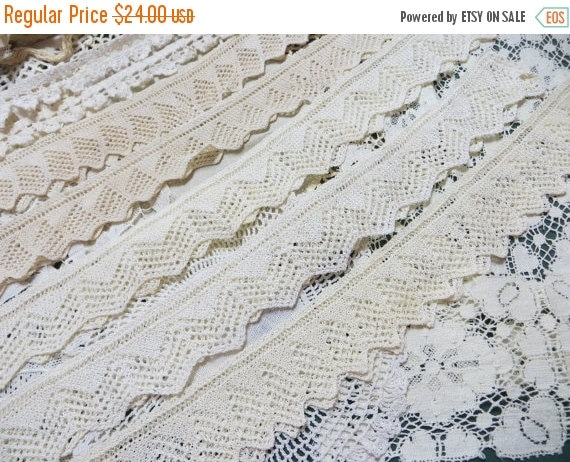ON SALE Antique Lace and Doilie Lot-Handmade-10+ Yards