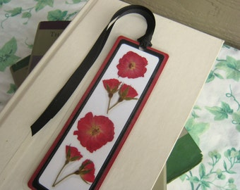 Red Rose Bookmark / Pressed Flower Bookmark/ Laminated Bookmark / Red Floral Bookmark