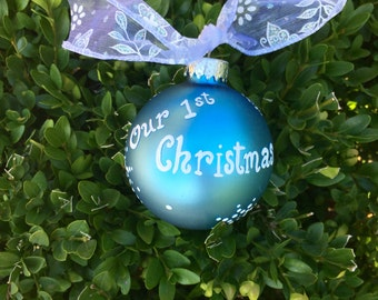 Our First Christmas Ornament, Couples Wedding Ornament, Personalized Christmas Bauble, FREE Personalizing, Blue, First Home, Just married