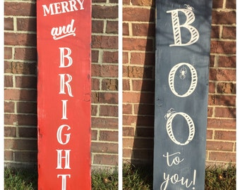 Double Sided Porch Sign: merry and bright, boo to you, halloween sign, christmas sign, christmas decor, outside, rustic, hand painted, fall