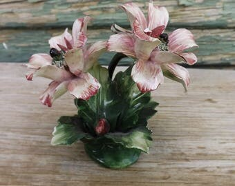Vintage Capodimonte Flower Figurine