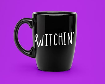 Hand Lettered Witchin' Decal - Coffee Mug Decal - Unique Witchcraft Party Decal - Statement Mug Sticker