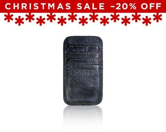 Christmas Sale -20% Off - - iPhone 6, iPhone 7 RETROMODERN aged leather pocket - - BLACKMARINE