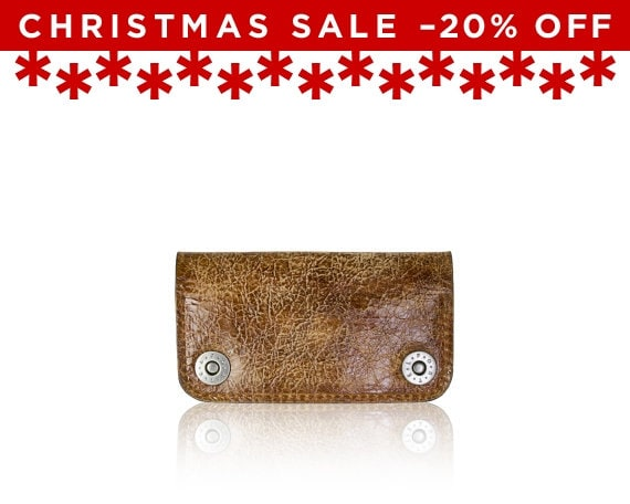 Christmas Sale -20% Off - - iPhone SE, iPhone 5 RETROMODERN aged leather wallet - - LIGHTBROWN