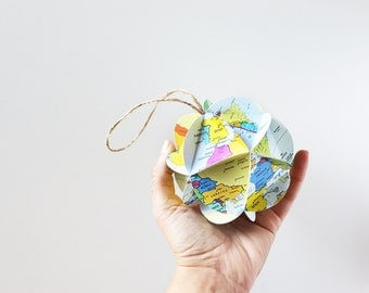 DIY Map Ornament Kit // Make Your Own Ornament From World Maps // Christmas Stocking Stuffer // Holiday Gift