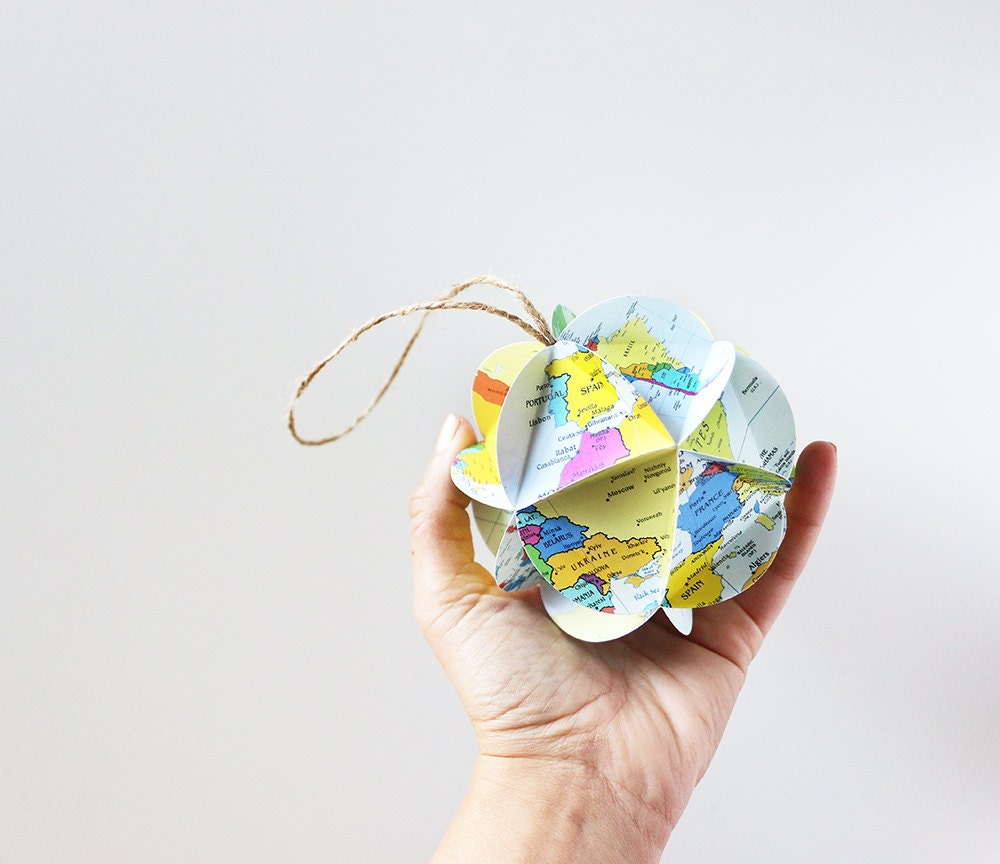 DIY Map Ornament Kit // Make Your Own Ornament From World Maps