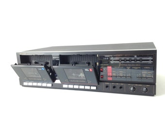 vintage CASSETTE tape player recorder 80s sharp sonic boom mixtape maker SILVER electronic stereo home component system