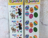 2 Packs of 1990s Sandylion Fuzzy Easter Stickers Eggs Lambs Spring Kids Children Collectible