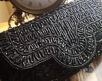 Black Beaded Clutch Purse