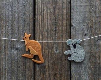 Koala and Kangaroo Garland, Koala Bunting, Kangaroo Bunting, Kangaroo decor, Koala Decor, Australia, Australian Baby, Koala Baby, Kanagroos