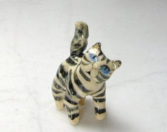 Tabby Cat Terrarium Miniature - Gray Tabby Cat - Miniature Figurine - Pottery Cat Sculpture - Clay Animal - Fairy Garden Figurine