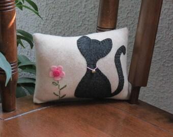 Kumiko the Kitty - Black Cat Pillow - Wool Kitty Cat Pillow