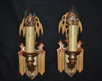 Pair Restored Antique Riddle Co. Wall Sconces Willow Tree