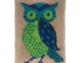 MOD Needlepoint OWL Green BLUE Mid-century