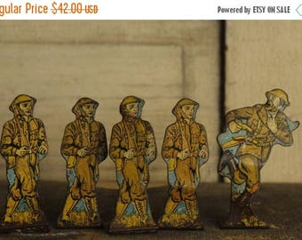 ON SALE SALE- Antique Marx Toy Soldiers, Wwi Stand-up Metal Figurines, Antique Toy, Collectible 1930's Soldiers of Fortune, Old Tin Toy Set