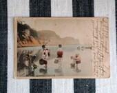 Antique Japan Kimono Scene Victorian Postcard Traditional Japanese Watercolour Collectable Handwritten Card Paper Ephemera Photography Prop