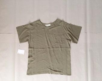Greg Adams silk top   olive silk crop top   shoulder button pocket top