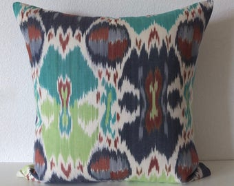 Bright Colorful Ikat Hawk Cove Spring Grass Pillow Cover