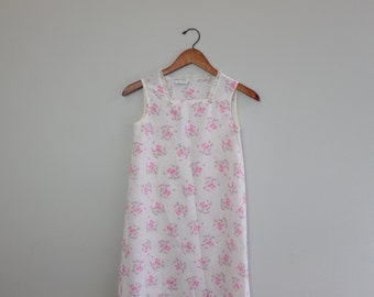 Vintage Pink Floral 70s Style Pajama Nightgown by Spencer California