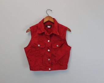 Vintage 90s Red Jean Vest By  Team Tactics