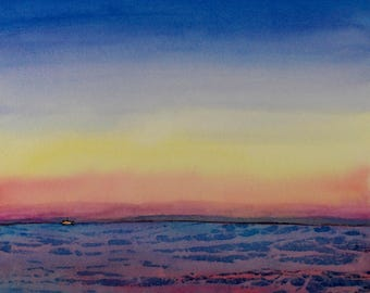 Spectrum Sea Scape Print from Original Watercolor