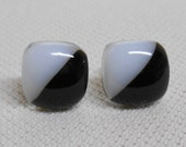Fused Glass Stud Earrings with 925 Sterling Silver Post Earrings Black and White