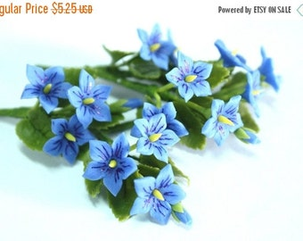 Miniature Polymer Clay Flowers Supplies for Dollhouse Violet with leaves, 3 Bunches