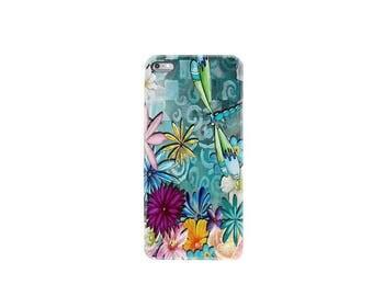 iPhone 6 case iphone 6S case iphone 6 plus case iphone 7 case iphone 7 plus case cover mobile phone silicone skin dragonfly flower garden