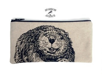 Pencil Case, Original Beaver Print, Woodland Beaver Pouch, Pouch for Small Tools