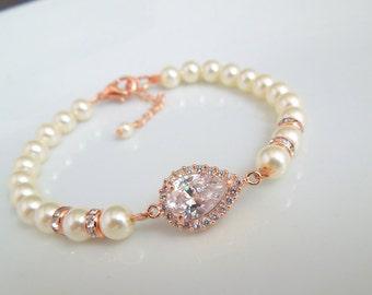 Pearl Bracelet Bridal Rhinestone Bracelet Ivory swarovski Pearls Cubic Zirconia Bridal Pearl Bracelet Wedding Pearl Bracelet Pearl AUDREY
