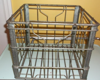 "Metal Dairy Crate vintage heavy duty crate 12"" square 10"" high Flav-o-rich dairy crate rusty cratefor storage deco inside and outside"