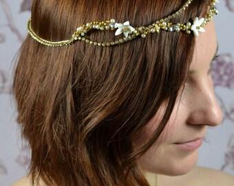 Bohowedding, Bridalhalo, Bridalheadpiece Headpiece Gold Porcelaine Flowers, Bridalcrown