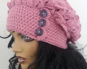 Crocodile Stitch Pink Hat,Slouchy 3 button tab women Hat,Big Crocodile Stitch Slouch Hat