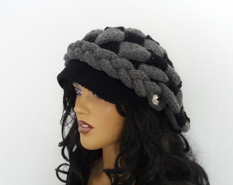 Black and Dark Gray Slouchy Newsboy Cap -Button- Handmade-Knitted newsboy brimmed slouch hat
