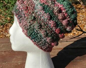 Hand Spun Hand Crocheted Hat spring garden