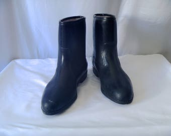 Vintage 80s Black Roper Rain Boots with Fuzzy Wool Lining Made in U.S.A. Men's Size 10