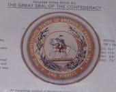 Vintage Counted Cross Stitch Kit  The Great Seal Of The Confederacy Washington on Horse 4176 Cross Stitch Kit