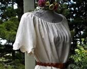 muslin peasant blouse - bohemian blouse - maternity friendly tunic -  one size