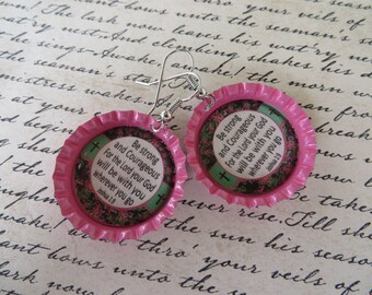 Strong And Courageous Scripture Bottle Cap Earrings